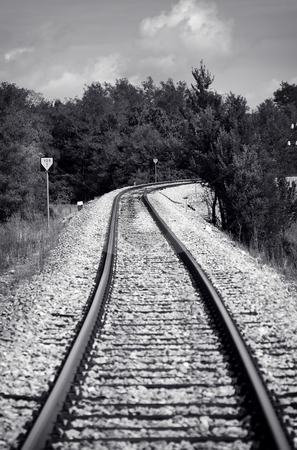 Railway stock photo, Black and white old style photo of a train railway by Gordan Poropat