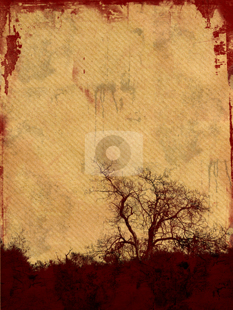 Grunge background stock photo, Grunge frame with tree silhouette on aged paper background  with space for your text by GPimages