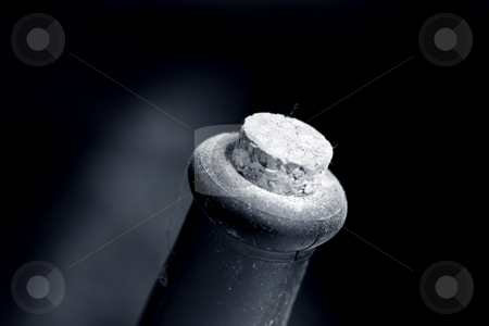 Old bottle stock photo, Old dusty wine bottle , black and white photo with shallow DOF by Gordan Poropat