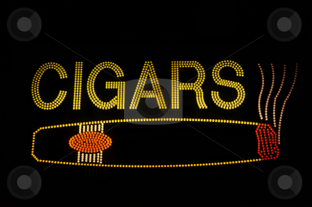 Cigar Neon Sign with Icon stock photo, Cigar Neon Light Sign with Icon by Brandon Bourdages
