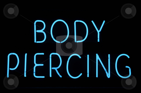 Body Piercing Neon Sign stock photo, Body Piercing Neon Blue Sign by Brandon Bourdages