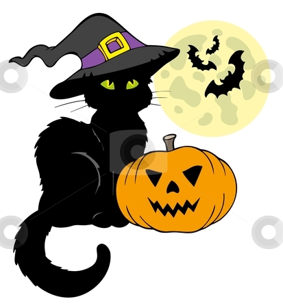 Halloween cat silhouette with Moon stock vector clipart, Halloween cat silhouette with Moon - vector illustration. by Klara Viskova