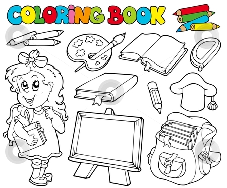 Coloring book with school theme 1 stock vector clipart, Coloring book with school theme 1 - vector illustration. by Klara Viskova