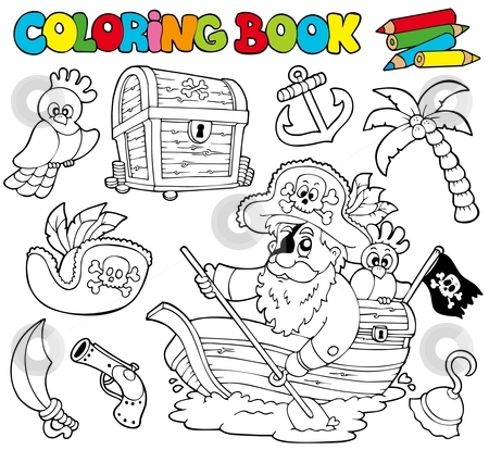 Coloring book with pirates 1 stock vector clipart, Coloring book with pirates 1 - vector illustration. by Klara Viskova