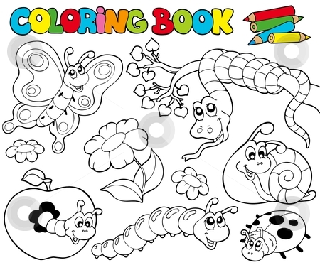 Coloring book with small animals 1 stock vector clipart, Coloring book with small animals 1 - vector illustration. by Klara Viskova