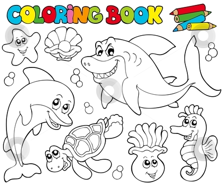 Coloring book with marine animals 2 stock vector clipart, Coloring book with marine animals 2 - vector illustration. by Klara Viskova