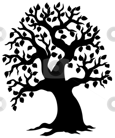 Big leafy tree silhouette stock vector clipart, Big leafy tree silhouette - vector illustration. by Klara Viskova