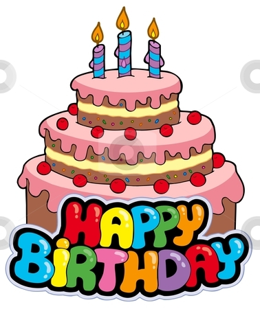 Birthday Cake Cartoon on Happy Birthday Sign With Cake Vector Illustration   Download Birthday