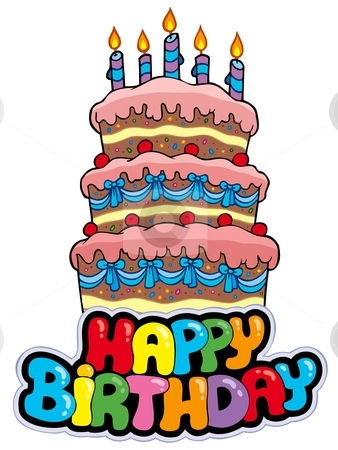 Birthday Cake Cartoon on Birthday Sign With Tall Cake Vector Illustration   Download Birthday