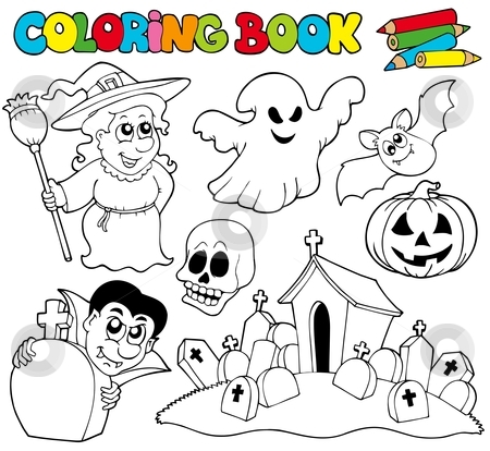 Coloring book with Halloween theme stock vector clipart, Coloring book with Halloween theme - vector illustration. by Klara Viskova