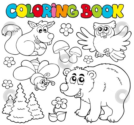 Coloring book with forest animals 1 stock vector clipart, Coloring book with forest animals 1 - vector illustration. by Klara Viskova