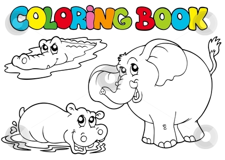 Coloring book with tropic animals 1 stock vector clipart, Coloring book with tropic animals 1 - vector illustration. by Klara Viskova