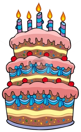 Big cartoon cake with candles stock vector clipart, Big cartoon cake with candles - vector illustration. by Klara Viskova