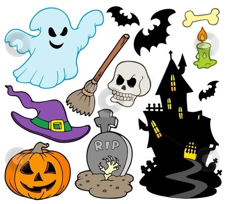 Set of Halloween images stock vector clipart, Set of Halloween images - vector illustration. by Klara Viskova