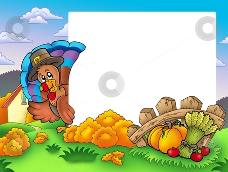 Thanksgiving frame with turkey 1 stock photo, Thanksgiving frame with turkey 1 - color illustration. by Klara Viskova