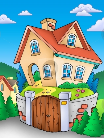 Family house on countryside stock photo, Family house on countryside - color illustration. by Klara Viskova