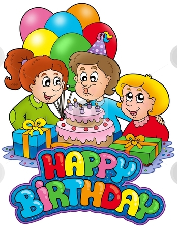 Birthday sign with happy family stock photo, Birthday sign with happy family - color illustration. by Klara Viskova