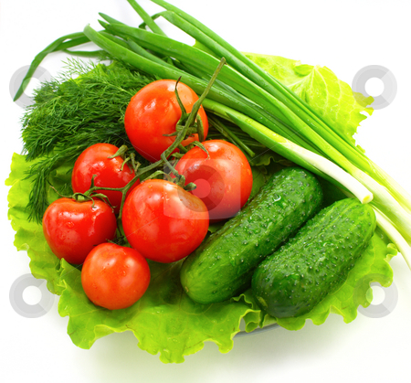 Fresh vegetable stock photo, Fresh vegetable on  plate over white background by Vladimir Gladcov