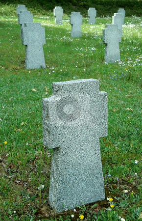 Empty tombstones stock photo, Empty stone tombstones, they belong to german soldiers fallen in slovakia by Robert Remen