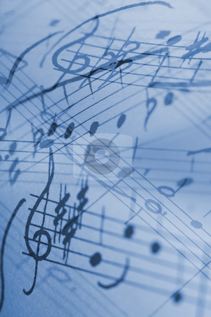 Rhapsody in Blue stock photo, Hand-written musical notation background. by Stocksnapper