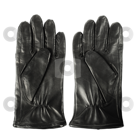 New gloves stock photo, Pair of new mens black leather gloves isolated on white by Stocksnapper