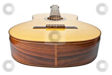 Classic guitar stock photo, Perspective view classic guitar isolated on white background. by Homydesign