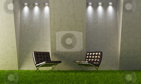 Exterior interior stock photo, Two modern and elegance seat in interior - exterior situation by Giordano Aita