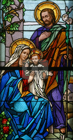 Holy Family  stock photo, Stained glass with Holy Family by Zvonimir Atletic