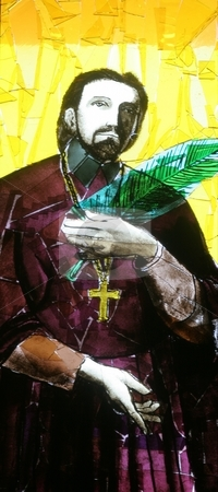 Saint Marko Krizin stock photo, Stained glass with Saint Marko Krizin by Zvonimir Atletic