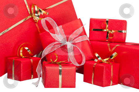 Gift Box Collection stock photo, Red and gold gift boxes isolated on white by Timothy Hodgkinson