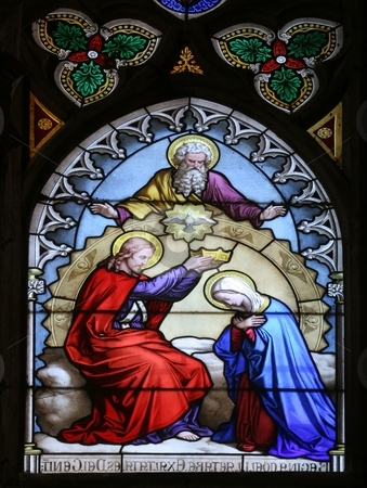 Coronation of Mary  stock photo, Coronation of Mary, stained glass by Zvonimir Atletic