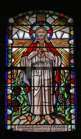 Sacred Heart of Jesus stock photo, Sacred Heart of Jesus, stained glass by Zvonimir Atletic