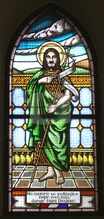 Saint John the Baptist stock photo, Saint John the Baptist, stained glass by Zvonimir Atletic