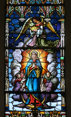 Assumption of the Virgin Mary  stock photo, Assumption of the Virgin Mary, stained glass by Zvonimir Atletic
