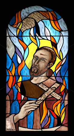 Saint Nikola Tavelic  stock photo, Saint Nikola Tavelic, stained glass by Zvonimir Atletic