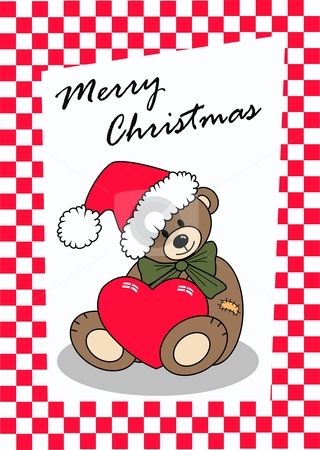 Merry christmas stock vector clipart, Merry christmas card with a cute bear by Popocorn