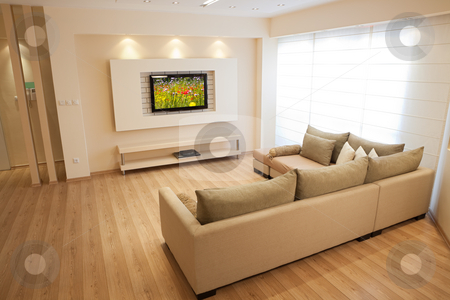 Modern Interior stock photo, Modern room with plasma tv by Dmitry Pistrov