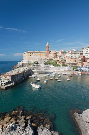 Genova Nervi stock photo, Beautiful small town with harbor near Genova, Italy by ANTONIO SCARPI