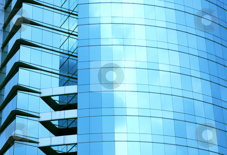 Modern blue glass wall of skyscraper stock photo, Modern blue glass wall of skyscraper in city by Keng po Leung