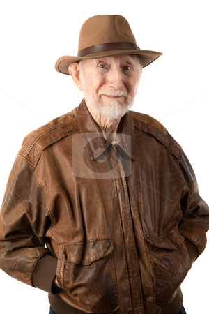 Adventurer or archaeologist stock photo, Adventurer or archaeologist in brown leather jacket by Scott Griessel