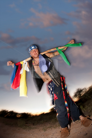 Indigenous man with ceremonial pole stock photo, Indigenous man with ceremonial pole representing seven driections by Scott Griessel