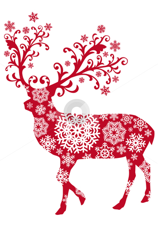 Christmas deer, vector  stock vector clipart, Christmas deer with ornaments and snowflakes, vector by Beata Kraus