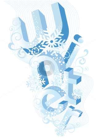 Winter background, vector stock vector clipart, Winter, abstract background with 3D letters, vector by Beata Kraus