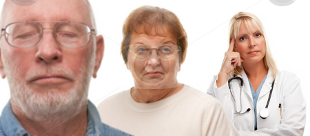 Concerned Senior Couple and Female Doctor Behind stock photo, Concerned Senior Couple and Female Doctor Behind with Selective Focus the Doctor in the Back. by Andy Dean