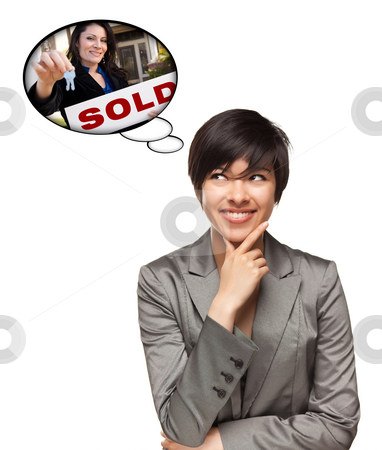 Multiethnic Woman with Thought Bubbles of Agent Handing Over Key stock photo, Beautiful Multiethnic Woman with Thought Bubbles of Real Estate Agent Holding Sold Sign Handing Over Keys Isolated on a White Background. by Andy Dean