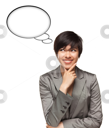 Beautiful Multiethnic Woman with Blank Thought Bubbles and Clipp stock photo, Beautiful Multiethnic Woman with Blank Thought Bubbles with Clipping Path Isolated on a White Background - Ready for Your Own Words or Pictures. by Andy Dean