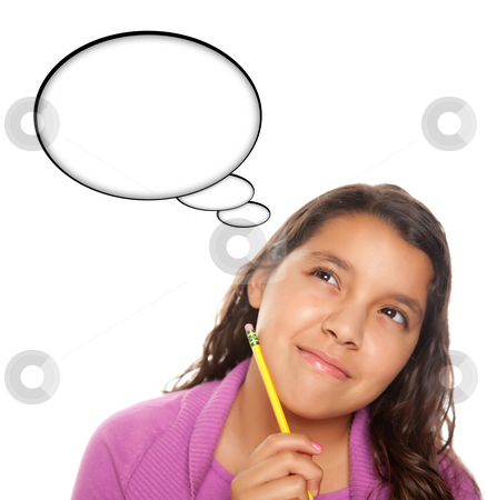 Hispanic Teen Aged Girl with Pencil and Blank Thought Bubble stock photo, Hispanic Teen Aged with Pencil and Blank Thought Bubble Isolated on a White Background - Contains Clipping Paths. by Andy Dean