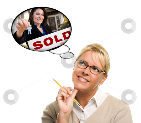 Woman with Thought Bubbles of Agent Handing Over New Keys stock photo, Beautiful Woman with Thought Bubbles of a Real Estate Agent Handing Over Keys to a New Home. by Andy Dean