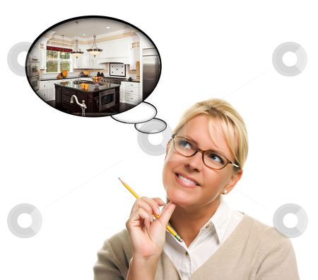 Woman with Thought Bubbles of a New Kitchen Design stock photo, Woman with Thought Bubbles of a New Kitchen Design Isolated on a White Background. by Andy Dean