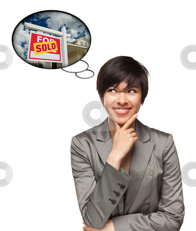 Multiethnic Woman with Thought Bubbles of Sold Real Estate Sign stock photo, Beautiful Multiethnic Woman with Thought Bubbles of a Sold Real Estate Sign to a New Home Isolated on a White Background. by Andy Dean